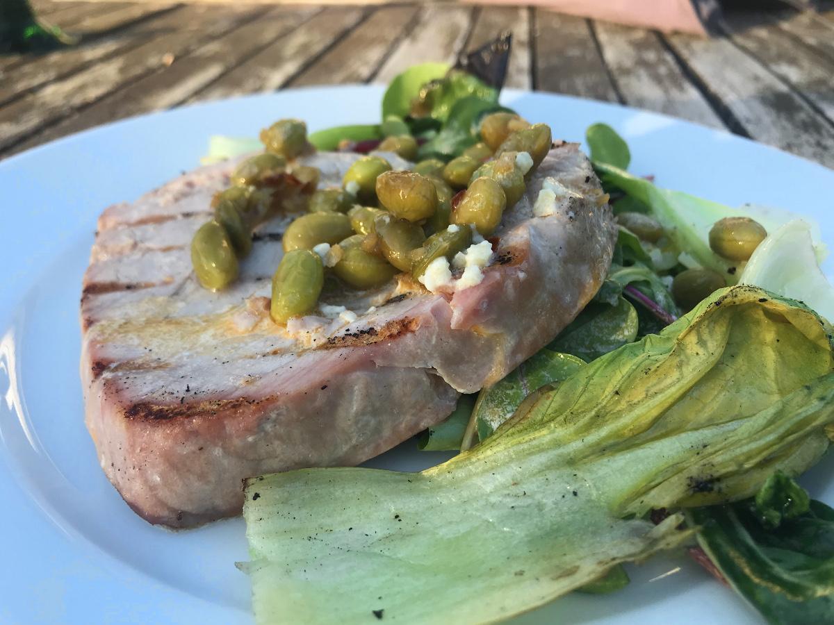 Grillad tonfisk med ingefära och vitlök